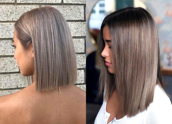 Colores de cabello para chicas morenas; tinte mushroom blonde o rubio champiñón