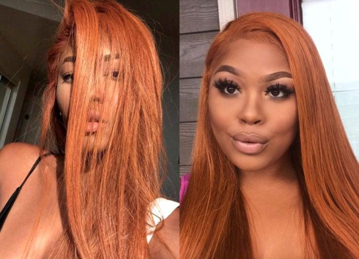 Hair colors for brunette girls; coppery orange tint
