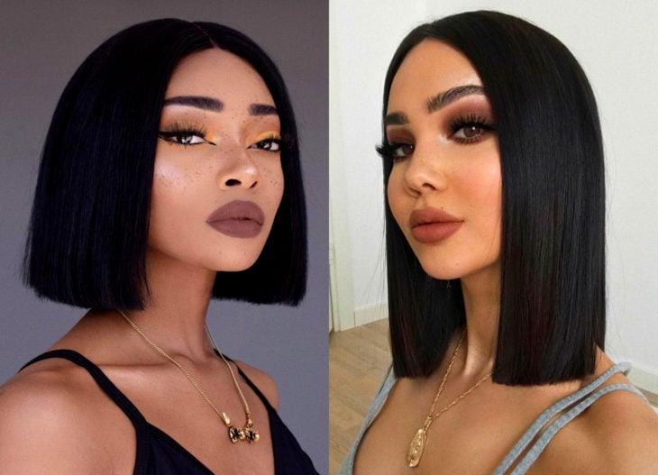 Hair colors for brunette girls; deep black tint, inky black