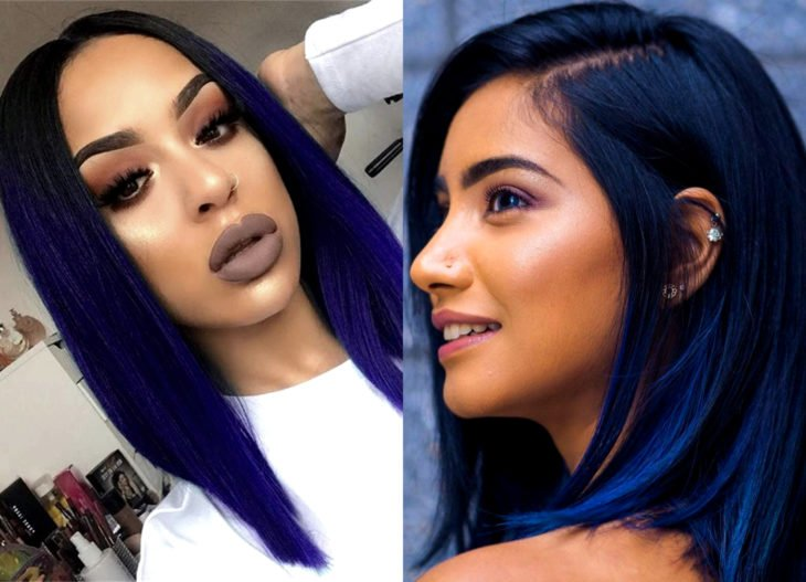 Hair colors for brunette girls; electric blue tint