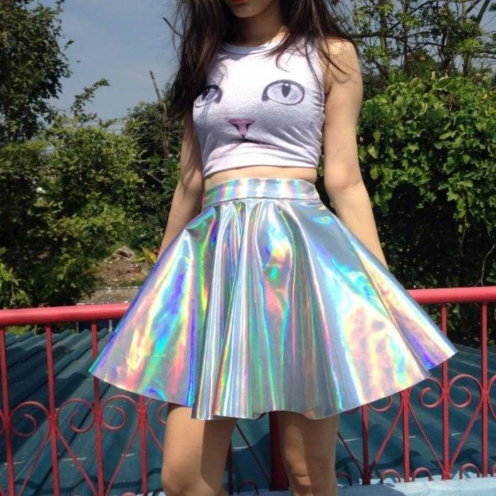 Girl wearing mini skirt in litmus tone