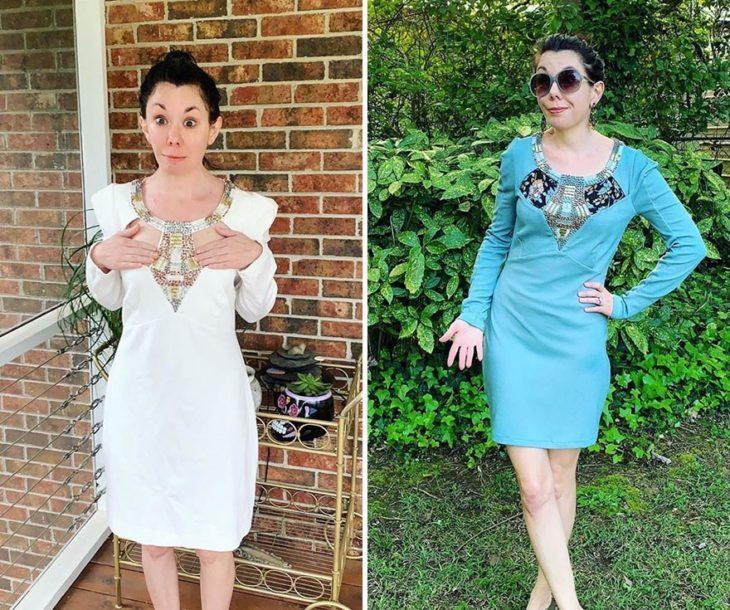 Jillian Owens, diseñadora, mostrando el cambio de un vestido blanco escotado a un vestido azul