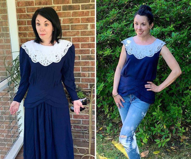 Jillian Owens, diseñadora, mostrando el cambio de un vestido largo en azul marino a un vestido corto