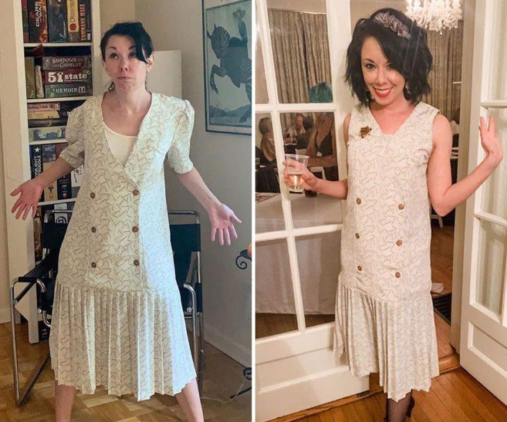 Jillian Owens, diseñadora, mostrando el cambio de un vestido en tono blanco