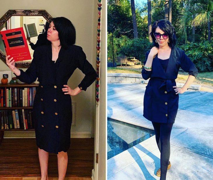 Jillian Owens, diseñadora, mostrando el cambio de un traje de dos piezas en un vestido corto