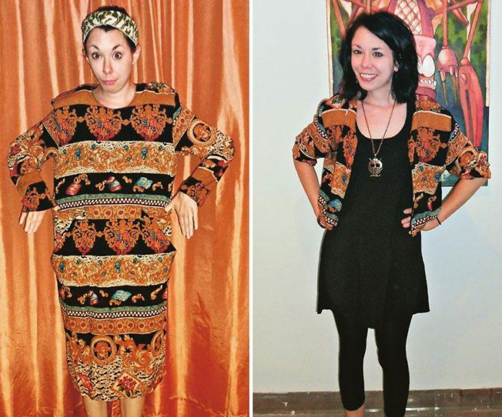 Jillian Owens, diseñadora, mostrando el cambio de un vestido a saco corto