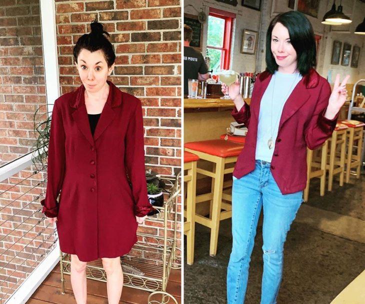 Jillian Owens, diseñadora, mostrando el cambio de un saco largo a saco corto en tono vio