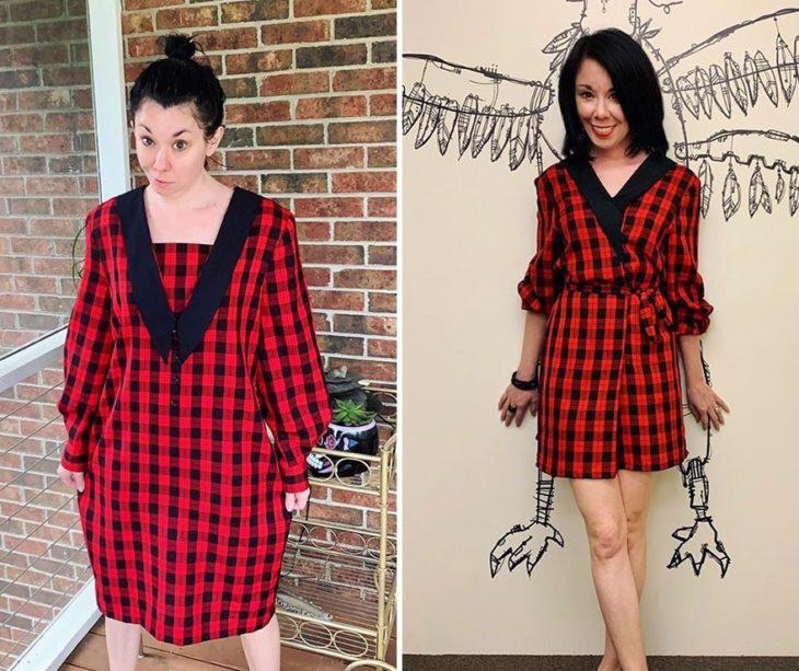 Jillian Owens, diseñadora, mostrando el cambio de un vestido a cuadros rojos y negros en un traje de dos piezas