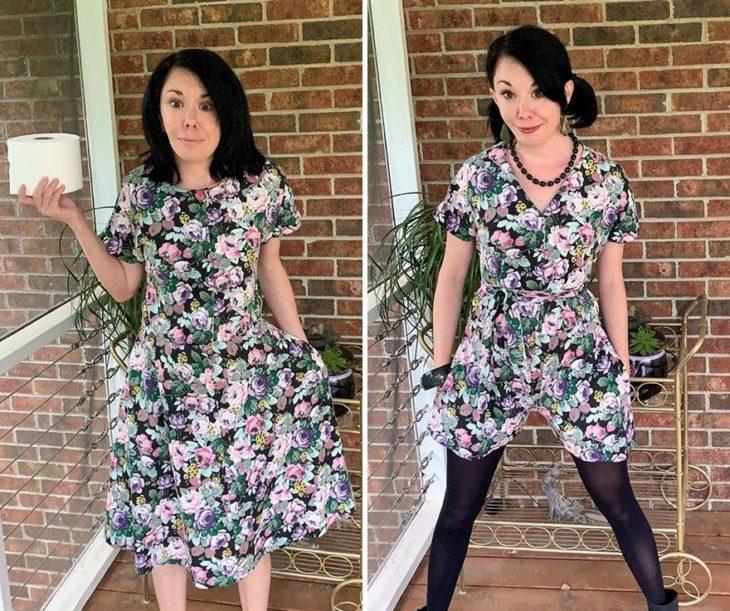 Jillian Owens, diseñadora, mostrando el cambio de un vestido floreado a un jumper