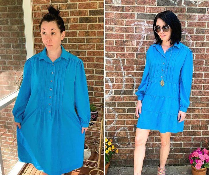Jillian Owens, diseñadora, mostrando el cambio de un vestido azul largo a un vestido corto