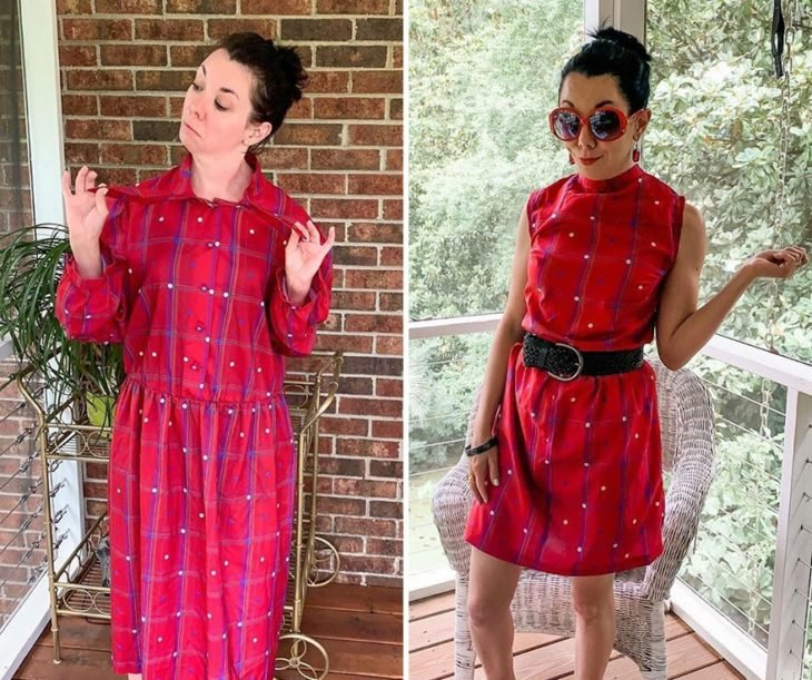 Jillian Owens, diseñadora, mostrando el cambio de un vestido largo a un vestido corto