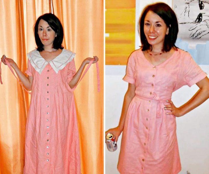 Jillian Owens, diseñadora, mostrando el cambio de una bata de dormir a un vestido corto