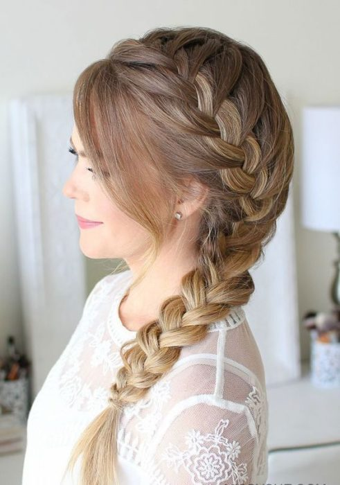 Three-strand braid on each side
