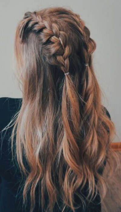 Pigtail braids with loose hair