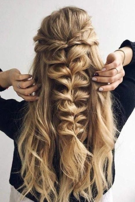 Super loose herringbone midtail braid