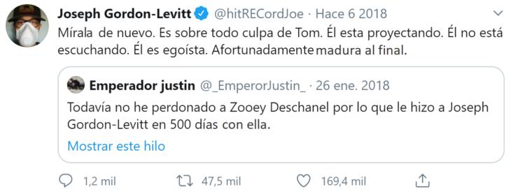 Screenshot de Twitter de respuesta de Gordon-Levitt a usuario
