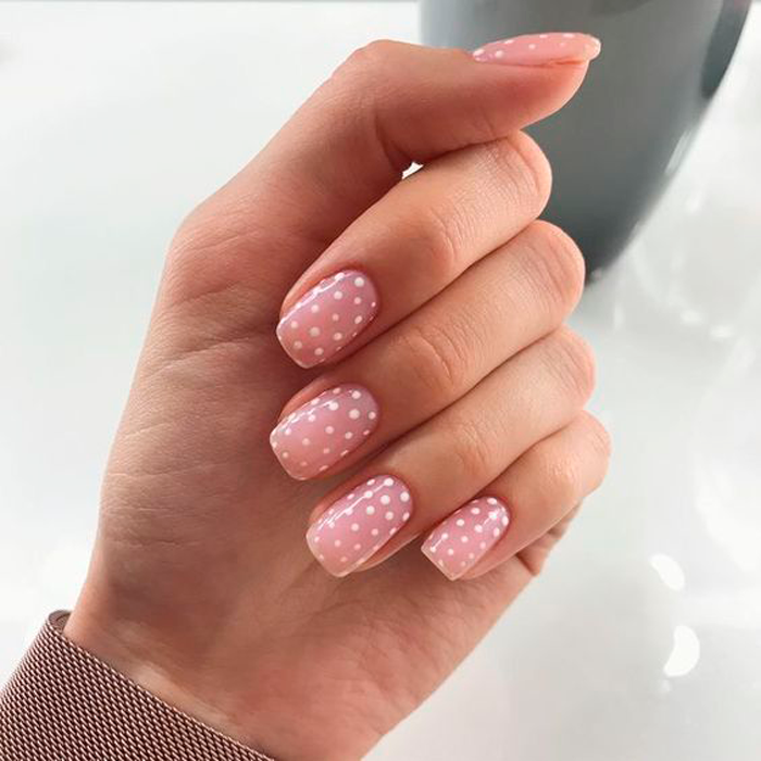 Manicure with white dots