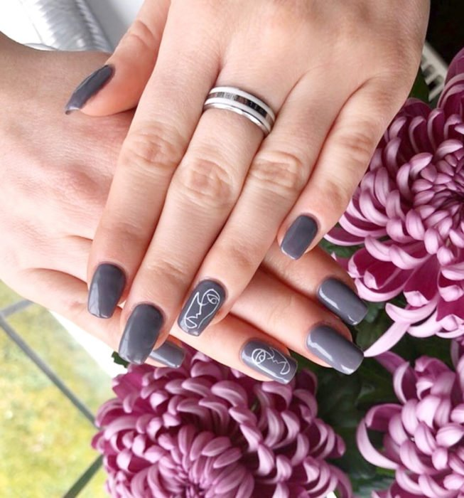 Square Picasso style nails, gray manicure, purple peonies