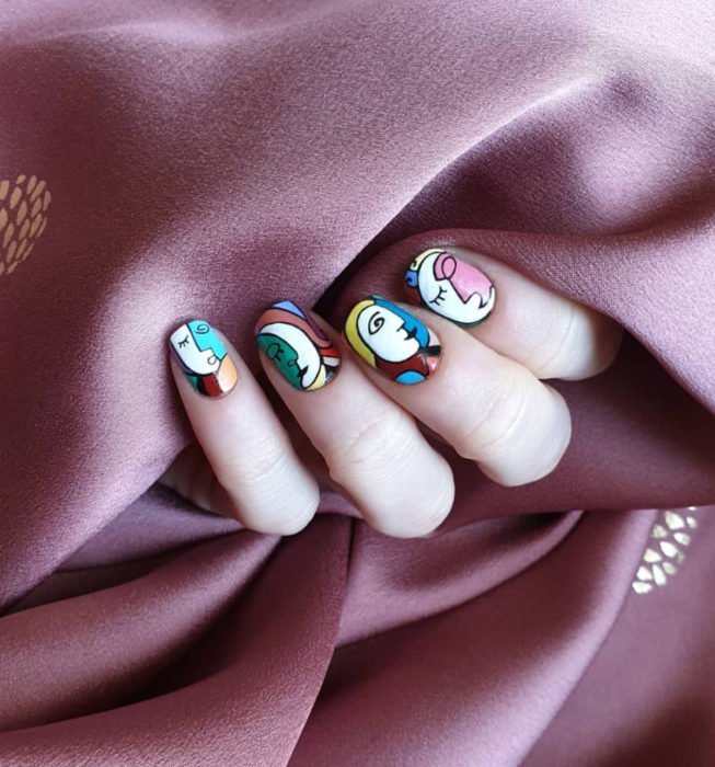 Square Picasso style nails, colored manicure