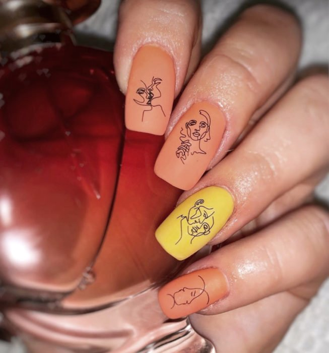 Square Picasso style nails, orange and yellow manicure
