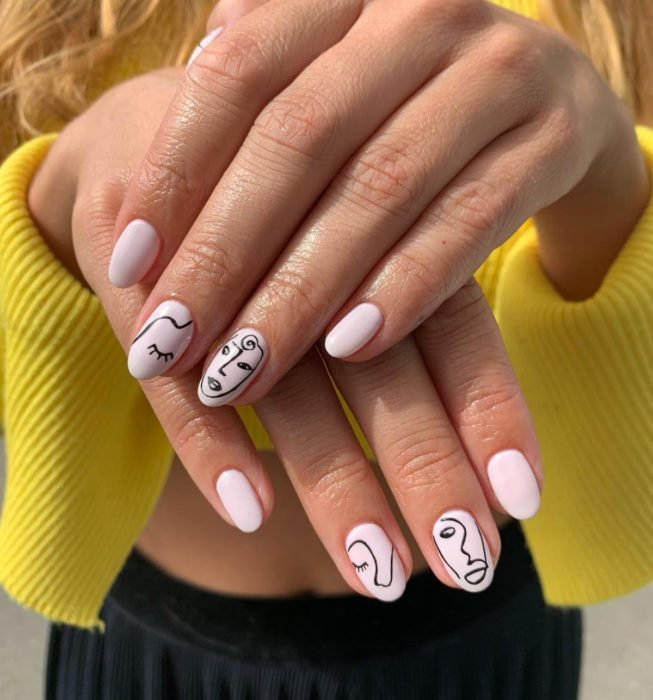 Almond Picasso style nails, baby pink, white manicure