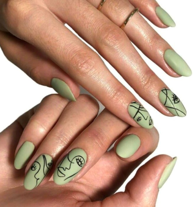 Picasso style almond nails, green manicure