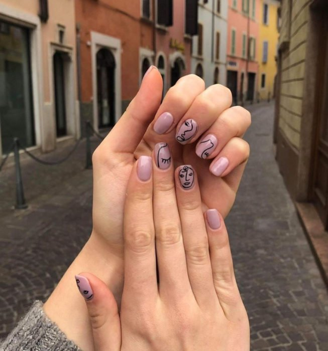 Square nails Picasso style nails, nude color manicure