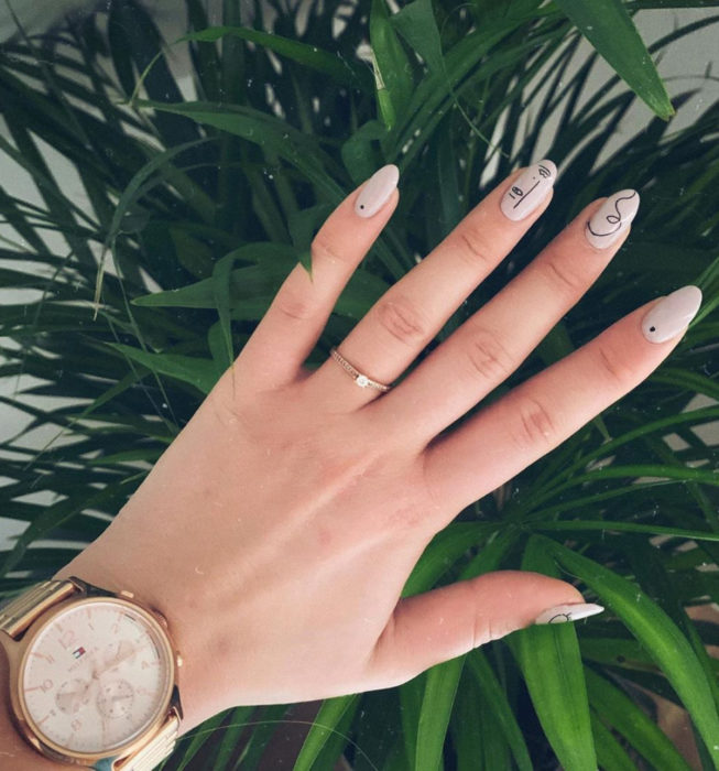 Picasso style almond nails, nude color manicure