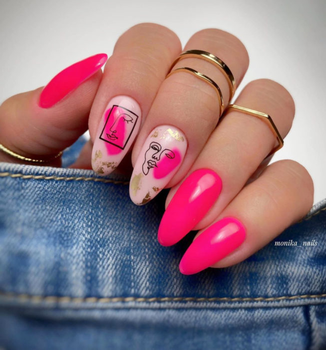Almond Picasso style nails, Mexican pink manicure