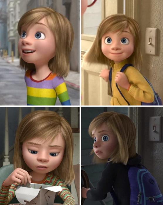 Escena de la película Intensamente en la que se muestra el cambio de vestuario de Raley