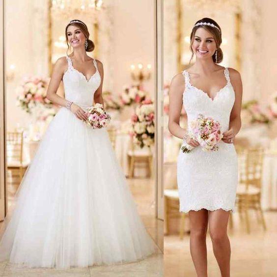 Vestido de novia 2 en 1 desmontable