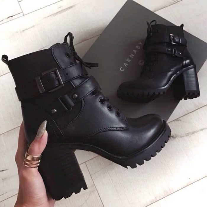 Wide-heeled rocker booties with rubber soles and heels