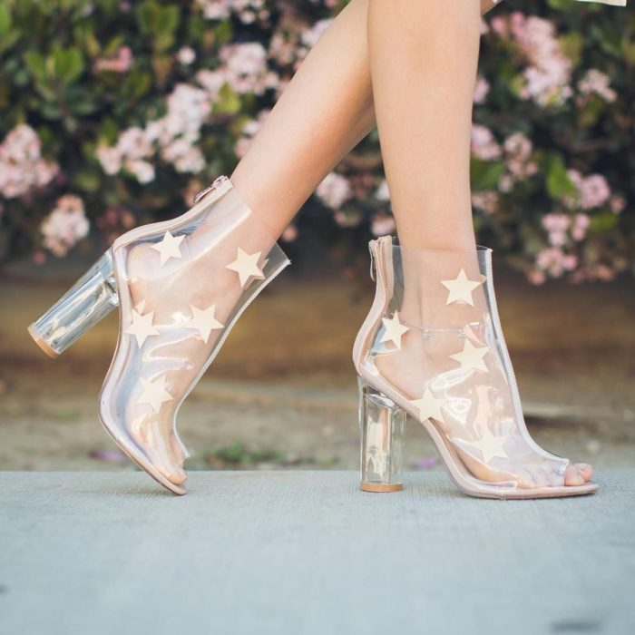 Transparency Ankle Boots with Gold Stars Design