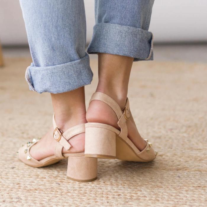 Wide heel shoes beige sandal type with low heel