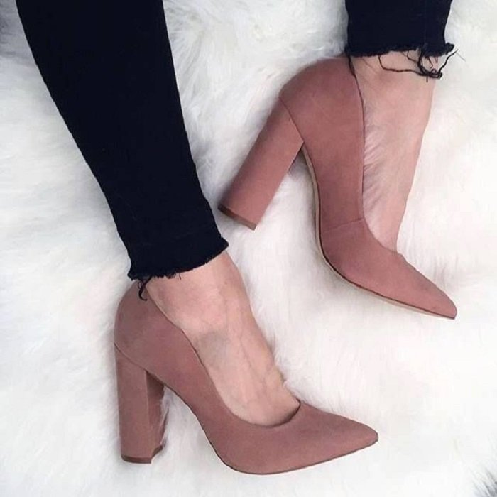 Pale pink slip-on heeled shoes