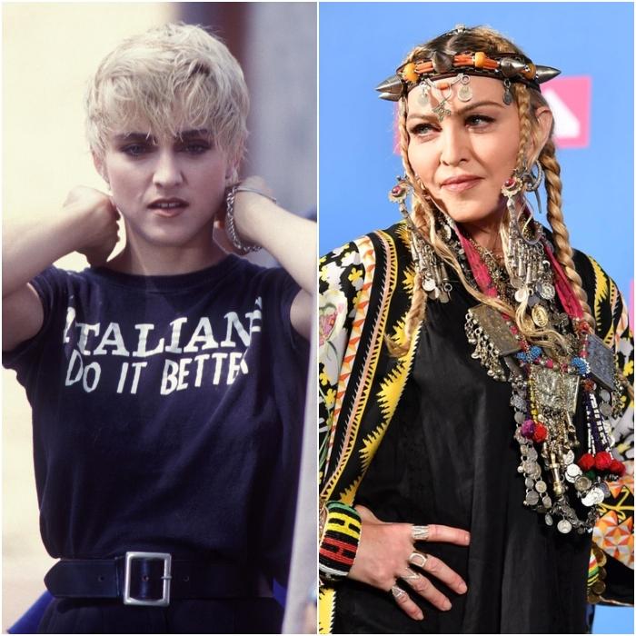 madonna en los 80's y en 2020
