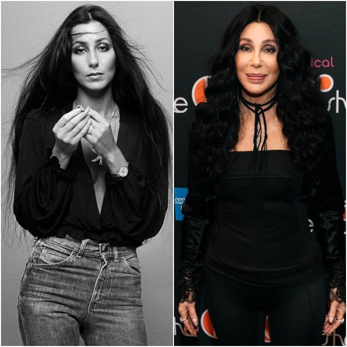 cantante y actriz cher en los 70s y en 2020