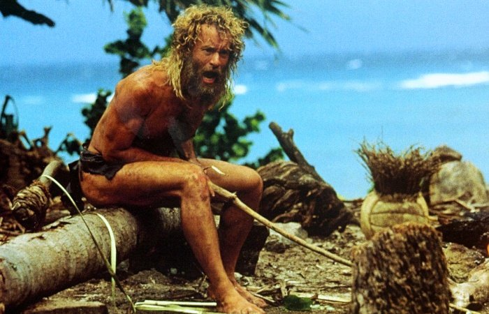 escena de cast away náufrago con tom hanks