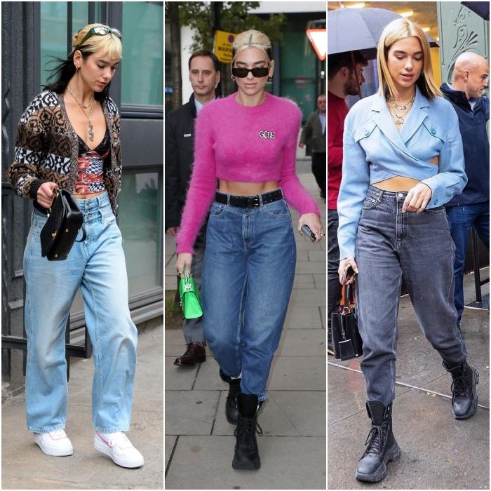 dua lipa usando jeans de tiro alto con botas y tenis