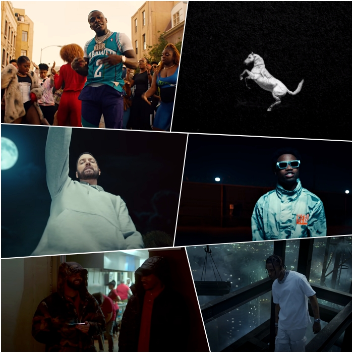 "DaBaby – ""BOP"" Eminem ft. Juice WRLD – ""Godzilla"" Future ft. Drake – ""Life Is Good"" Megan Thee Stallion – ""Savage"" Roddy Ricch – ""The Box"" Travis Scott – ""HIGHEST IN THE ROOM"""