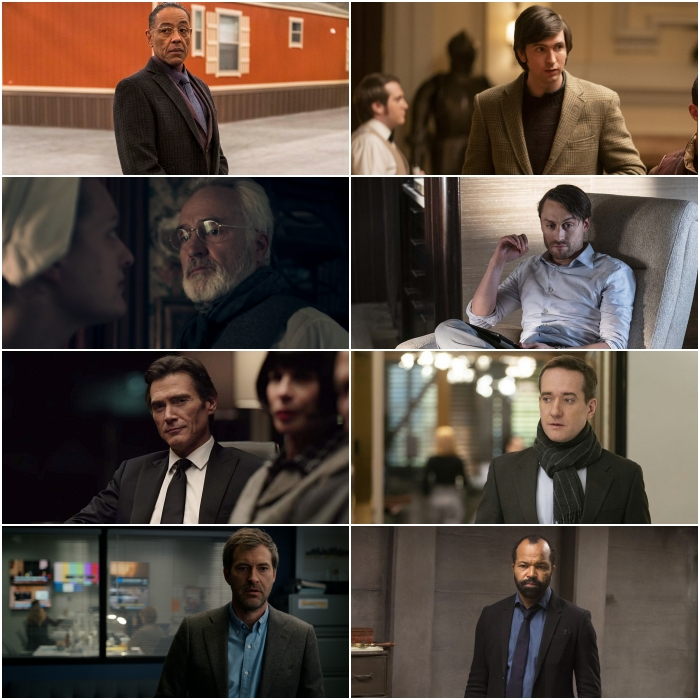 Giancarlo Esposito en Better Call Saul, Bradley Whitford en The Handmaid's Tale, Billy Crudup y Mark Duplass en The Morning Show; Nicholas Braun, Kieran Culkin y Matthew Macfadyen en Succession; y Jeffrey Wright en Westworld