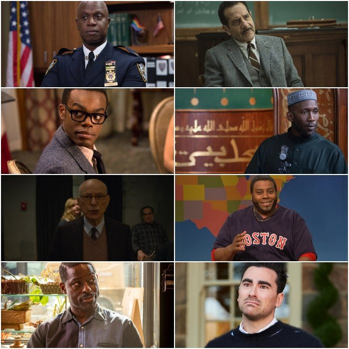 Andre Braugher en Brooklyn Nine-Nine, William Jackson Harper en The Good Place, Alan Arkin en The Kominsky Method, Sterling K. Brown y Tony Shalhoub en The Marvelous Mrs. Maisel, Mahershala Ali en Ramy, Kenan Thompson en Saturday Night Live y Dan Levy en Schitt's Creek