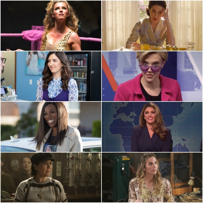 Betty Gilpin en GLOW, D'Arcy Carden en The Good Place, Yvonne Orji en Insecure, Alex Borstein y Marin Hinkle en The Marvelous Mrs. Maisel, Kate McKinnon y Cecily Strong en Saturday Night Live y Annie Murphy en Schitt's Creek