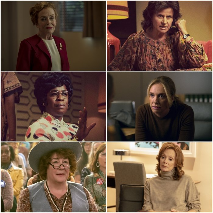 Las nominadas son Holland Taylor en Hollywood; Uzo Aduba, Margo Martindale y Tracey Ullman en Mrs. America; Toni Collette en Unbelievable y Jean Smart en Watchmen