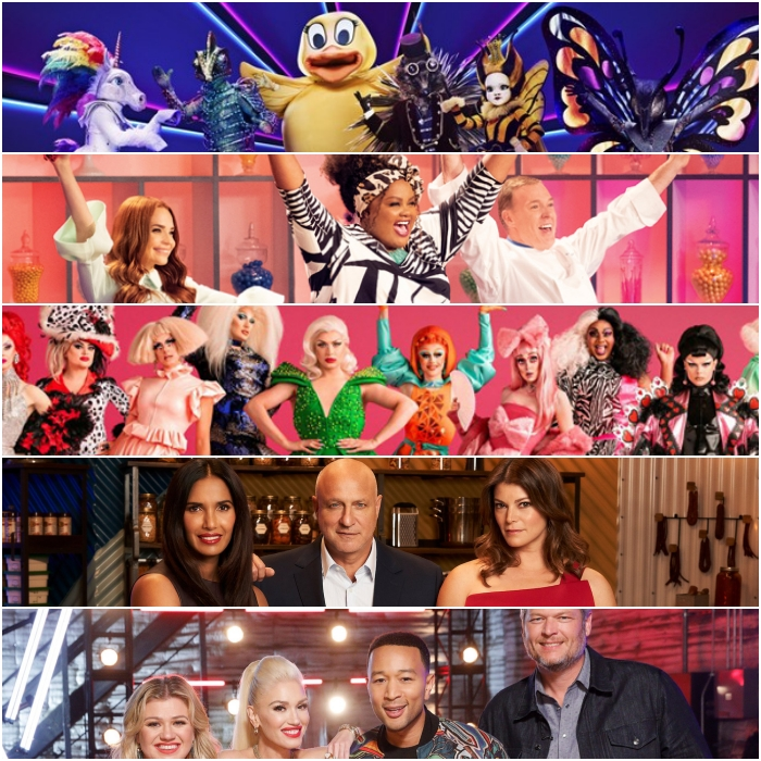 The Masked Singer, Nailed It, RuPaul's Drag Race, Top Chef y The Voice