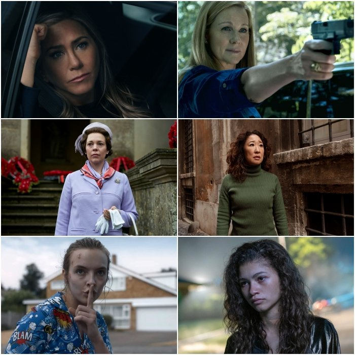 Jennifer Aniston en The Morning Show, Olivia Colman en The Crown, Jodie Comer en Killing Eve, Laura Linney en Ozark, Sandra Oh en Killing Eve y Zendaya en Euphoria