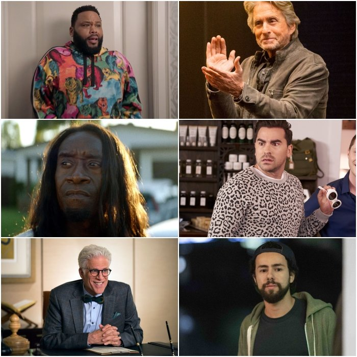 Anthony Anderson en Black-ish, Don Cheadle en Black Monday, Ted Danson en The Good Place, Michael Douglas en The Kominsky Method, Eugene Levy en Schitt's Creek y Ramy Youssef en Ramy