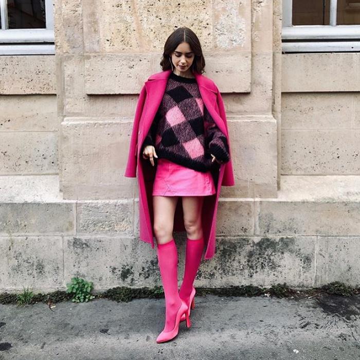 lily collins en el set de su nueva serie en francia, emily in paris