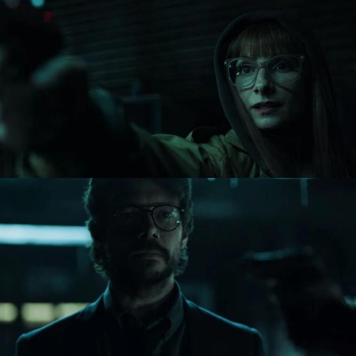 escena del final de la cuarta temporada de la casa de papel con el profesor