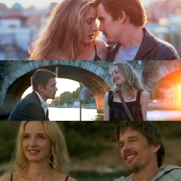 escenas de before sunrise, before sunset y before midnight